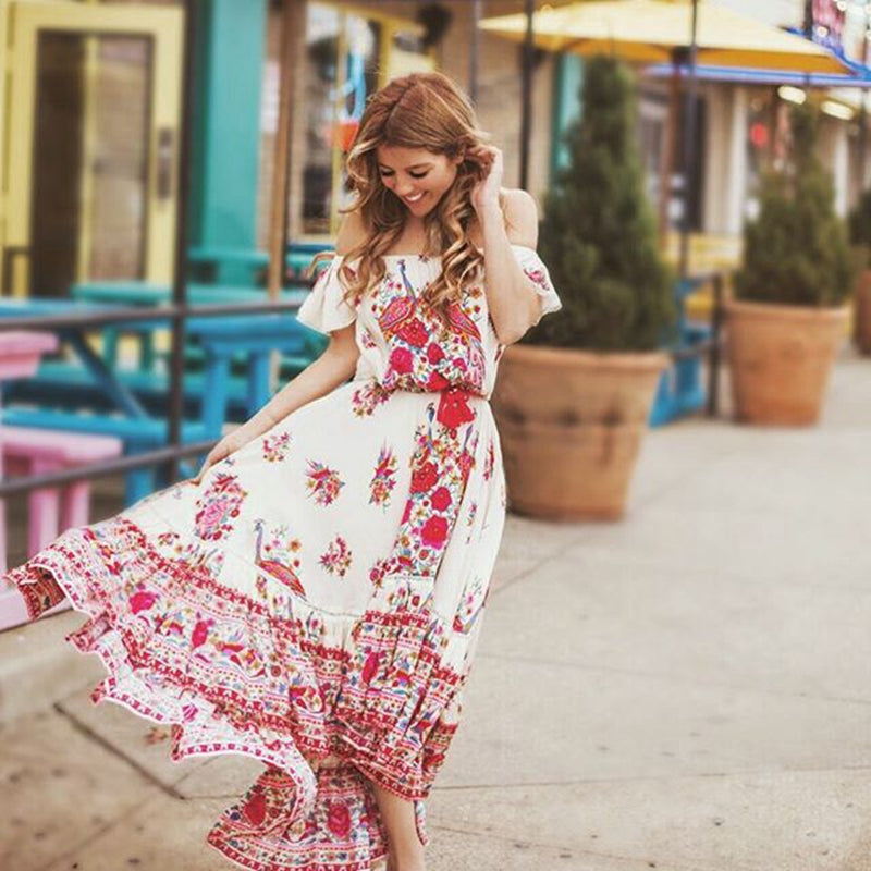 Floral Print Bohemian Maxi Dress Summer Long Off Shoulder Vintage Cotton Hippie Chic Holiday Beachwear Dresses-Drop it when its Hot