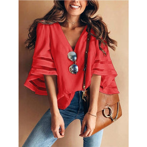 Casual Loose V Neck Kimono Chiffon Blouse Lady Summer Half Sleeve Solid Color Blouse-Women's clothing-Drop it when its Hot