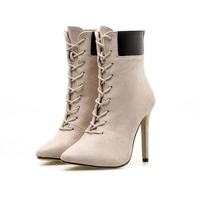 High Heels Pointed Toe Cross Tied Boots,Autumn Fashion