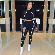 Load image into Gallery viewer, Striped Patchwork Mesh Matching Summer Set Tracksuit Women Sport Suit Long Sleeve Two Piece Set Crop Top and Pants Outfits-Drop it when its Hot