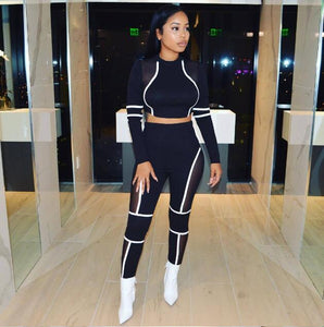 Striped Patchwork Mesh Matching Summer Set Tracksuit Women Sport Suit Long Sleeve Two Piece Set Crop Top and Pants Outfits-Drop it when its Hot