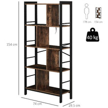 Load image into Gallery viewer, Industrial Storage Shelf Bookcase Shelf for Living Room Home Office - Black/Woodgrain