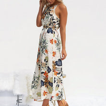 Load image into Gallery viewer, Summer Bench Maxi Dress Women Floral Print Sleeveless With Belt Boho Party Dress Women's Split Holiday Long Vestidos-Drop it when its Hot