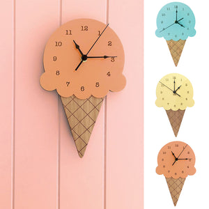 Wooden Ice Cream Shape Wall Clock Childrens Decor.