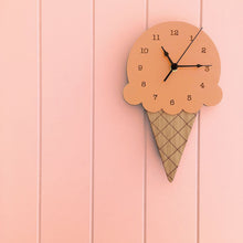 Load image into Gallery viewer, Wooden Ice Cream Shape Wall Clock Childrens Decor.