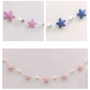 Nordic Style Pom Pom Balls and Stars Garland Nursery Kids Room Hanging Decor Ornament