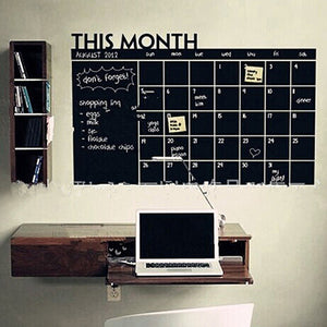 Home Office Decoration Chalk Board Blackboard Monthly Calendar Wall Sticker
