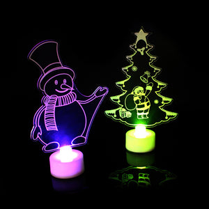 3D Christmas Tree Santa Claus Snowman LED Night Light Colorful Lamp Party Decor