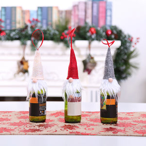 Christmas Tree Hanging Gnome Wine Bottle Cover Cap Ornament