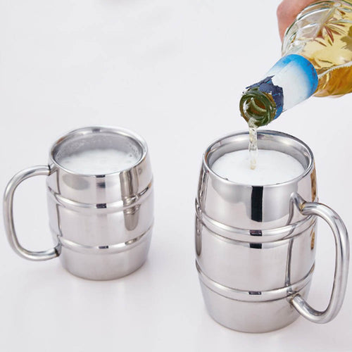 420/320ml Kitchen Gadget Double Wall Plain Stainless Steel Beer, Coffee Cup