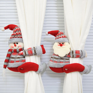 Christmas Cartoon Santa Claus Snowman Window Curtain Buckle Tieback Xmas Decor
