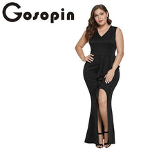 Load image into Gallery viewer, Plus Size Sexy Slit Dress, Elegant Bodycon Dresses