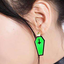 Load image into Gallery viewer, Vampire Green Halloween Dark Coffin Drop Earrings