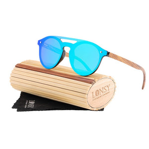 Wood Frame Round Bamboo Sunglasses For Women-Drop it when its Hot