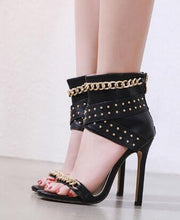 Load image into Gallery viewer, Rivet Metal Chain High Heels