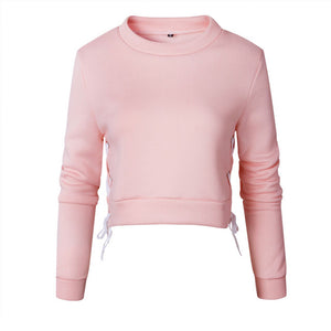 Women Sexy Slit Lacing Pullover Jumper Hoody Solid Long Sleeve Crop Top Blouse Sweatshirt Ropa Mujer-Drop it when its Hot