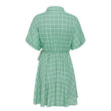 Load image into Gallery viewer, Elegant Plaid Sashes Women Dress Short Sleeve A Line Casual Streetwear Female Short Dress Button Summer Dress-Drop it when its Hot