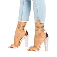 Load image into Gallery viewer, Bandage Rhinestone Ankle Strap High Heels