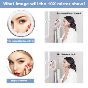360 Degree Rotation 10X Magnifying LED Suction Cup Folding Vanity Mirror