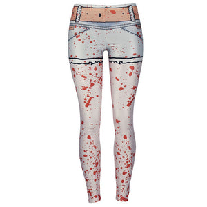 Ghost Hand Halloween Leggings Blood Spatter Digital Print Plus Size Cosplay