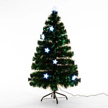 Load image into Gallery viewer, 5ft Fibre Optic Artificial Christmas Tree With Stars Lights (Green)