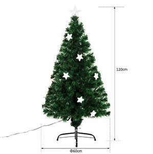 4ft Green Fibre Optic Artificial Christmas Tree With Stars Lights