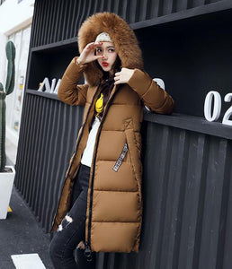 New Winter Large Fur Collar Padded Cotton Warm Jacket