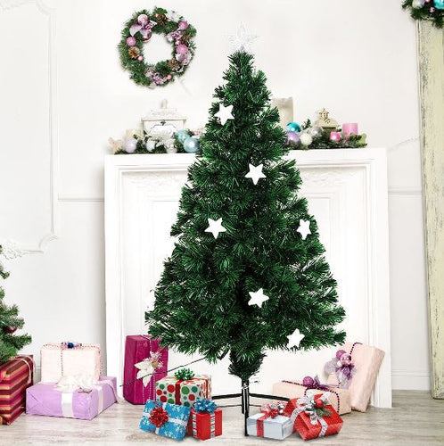 5ft Fibre Optic Artificial Christmas Tree With Stars Lights (Green)