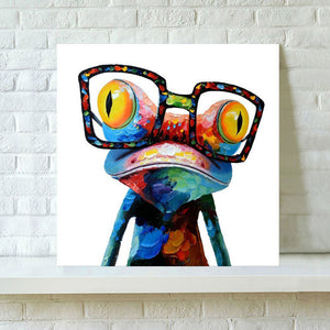 Modern Abstract Wall Art Painting Frameless Colorful Frog Home Decoration Gift