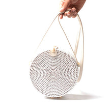 Load image into Gallery viewer, White Round Rattan Bags For Women Boho Beach Crossbody Bag Straw Handmade Woven Circle Shoulder Bag Female Handbags-Drop it when its Hot
