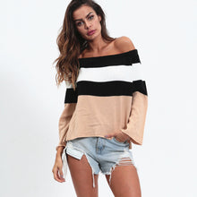Load image into Gallery viewer, Conmoto Patchwork Stripe, Off Shoulder Long Sleeve jumper
