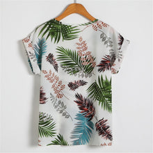 Load image into Gallery viewer, Tops Popular Fashion Soft Summer Women's Print Floral Bat Short Sleeve Chiffon Shirt Large Size T-Shirt-Drop it when its Hot