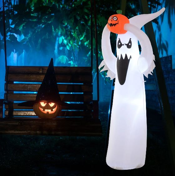 Inflatable Halloween Floating Ghost Pumpkin Outdoor Decoration w/ LED Lights 6FT