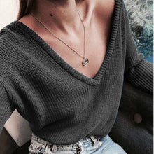 Load image into Gallery viewer, Elegant Autumn Winter Knitted Deep V Neck Sweaters