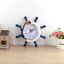 Load image into Gallery viewer, Modern Mediterranean Style Ship Wheel Wall Art Hanging Clock Home Decor