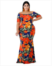 Load image into Gallery viewer, Plus Size Off Shoulder Mermaid Vintage Dress