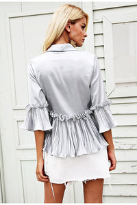 v neck ruffles peplum top Elegent pleated white blouse shirt office Satin flare long sleeve ladies women blouses-Drop it when its Hot