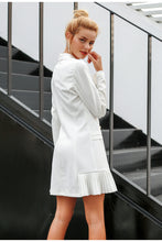 Load image into Gallery viewer, Elegant Ruffle Double Breasted Women Dress Office Casual Blazer White Dress-Drop it when its Hot