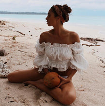 Load image into Gallery viewer, White Riffle Women Summer Crops Tops Blouse Off Shoulder Slash Neck Blouse Girl Lantern Sleeve Shirt Boho-Drop it when its Hot