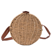 Load image into Gallery viewer, Women Summer Rattan Bag 2019 Round Straw Bags Handmade Woven Beach Cross Body Bag Circle Bohemia Handbag Bali Box-Drop it when its Hot