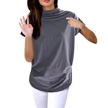 Load image into Gallery viewer, Turtleneck Short Sleeve Cotton Solid Casual T Shirt Plus Size
