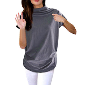 Turtleneck Short Sleeve Cotton Solid Casual T Shirt Plus Size