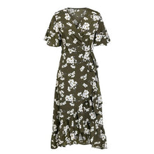Load image into Gallery viewer, V neck bohemian floral print women dress Elegant sash A line ruffled summer dress Short sleeve holiday dress-Drop it when its Hot