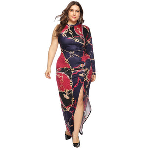 Plus Size Casual Dress O Neck, Long Sleeve, Ankle Length Dress