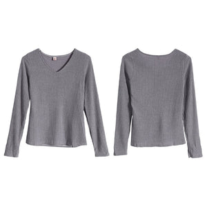 Long Sleeve V Neck Thin Slim Fit Knit Sweater