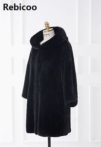Europe and America long section imitation fur coat