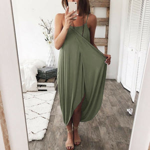 Women Airy Maxi Dress Solid Color Knitting Sleeveless Loose for Summer Beach Party-Drop it when its Hot
