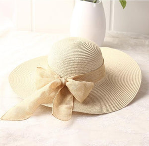 Hand Made Straw Hat, Ribbon Bow-knot Wide Brim Beach Hat