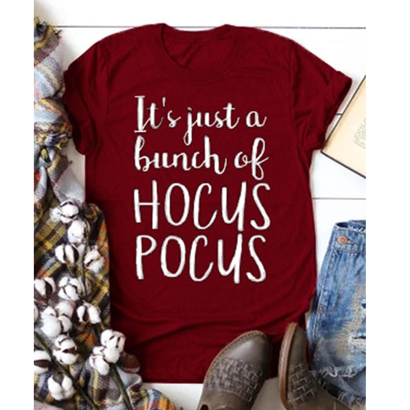 Female Halloween  It's Just A Bunch of Hocus Pocus Tshirt