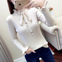 Load image into Gallery viewer, Vintage thick Autumn Winter Sweater, ruffled collar Long Sleeve bow